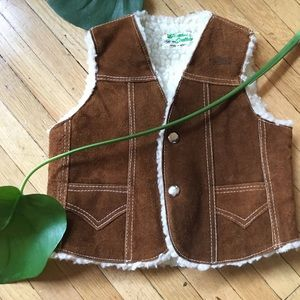 child's shearling 70s style vest